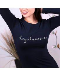 Дамска блуза с надпис в тъмносиньо - код 3166
