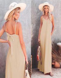 Свободна дамска рокля в бежово - код 4673