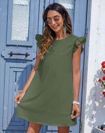 Къса дамска рокля в масленозелено - код 6261