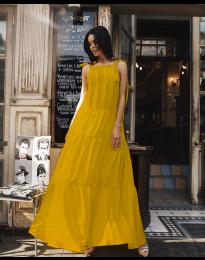 Ефирна дълга рокля в цвят горчица - код 1105