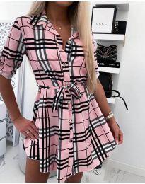 Рокля тип риза в розово каре - код 859