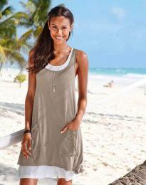 Дамска рокля в бежово с джобчета - код 9076