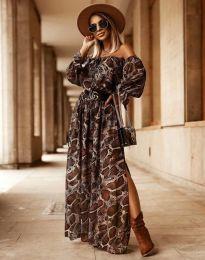 Дълга дамска рокля с атрактивен десен - код 2978 - 2