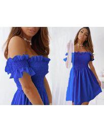 Свободна къса дамска рокля в тъмно синьо - код 0310