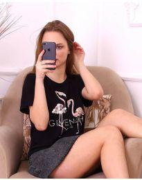 Черна дамска тениска с фламинги и паети - код 3549