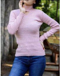 Дамска блуза с поло яка в розово - код 5191