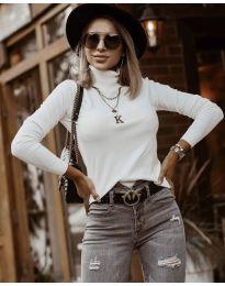 Дамска блуза с поло яка в бежово - код 8861