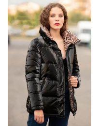 Зимно яке в черно с тигрова подплата - код 670