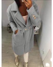 Дамско сиво палто с колан с капси - код 806