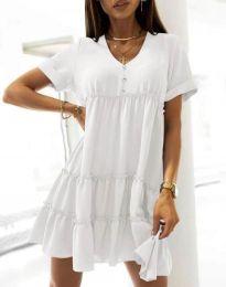 Свободна къса рокля в бяло - код 7205