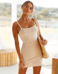 Дамска рокля в бежово - 10099