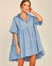 Свободна рокля в светлосиньо - код 6464