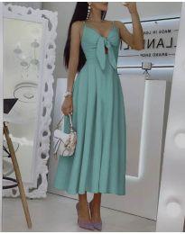 Дълга дамска рокля в цвят тюркоаз - код 2239