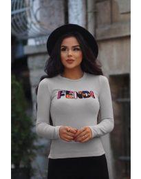 Дамска блуза в сиво с надпис - код 6165