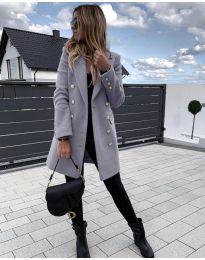 Дълго дамско палто в сиво - код 189