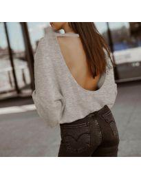 Дамска блуза с ефектен гръб в бежово - код 2666