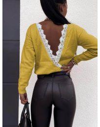 Дамска блуза с ефектен гръб в цвят горчица - код 6050