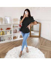 Елегантна блуза с къс ръкав в черно - код 324