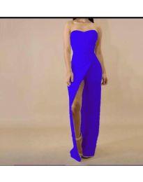 Елегантна рокля с цепка в синьо - код 1146
