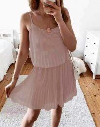 Атрактивна дамска рокля в цвят пудра - код 8596
