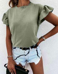 Дамска тениска с ефектни ръкави в светлозелено - код 4352