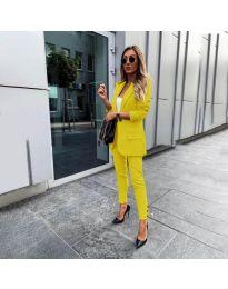Елегантен комплект от сако и панталон в жълто - код 862