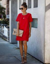 Свободна дамска рокля в червено - код 4408