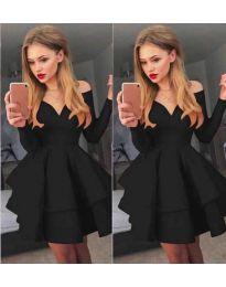 Атрактивна рокля в черно с ефектно деколте - код 228