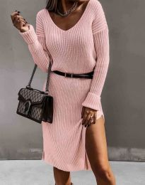 Дамска рокля в цвят пудра - код 6829