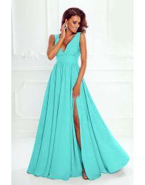 Елегантна дълга рокля с цепка в цвят мента - код 636
