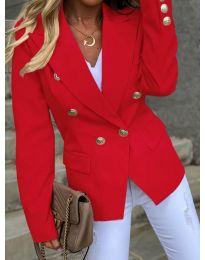 Вталено дамско сако с копчета в червено - код 426
