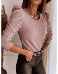 Дамска блуза в цвят пудра - код 9556