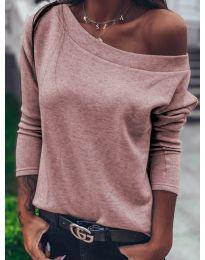 Дамска блуза в цвят пудра - код 4417