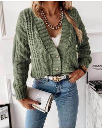 Къса дамска жилетка в маслено зелено - код 2124