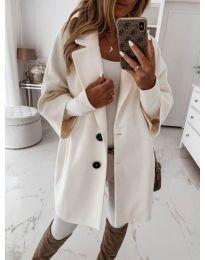 Дамско палто с копчета в бяло - код 413