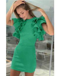 Дамска рокля в зелено с набрани ръкави - код 939