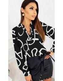 Черна дамска риза без яка и бели надписи - код 823