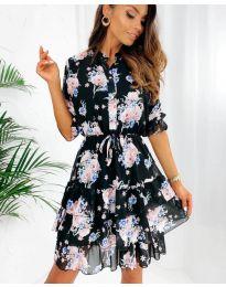 Дамска рокля с ефектен десен - код 8877 - 2