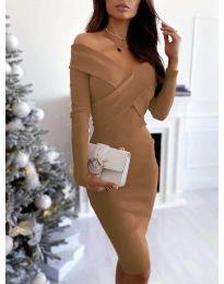 Елегантна рокля в кафяво - код 6130