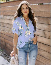 Дамска риза с флорален мотив в лилаво - код 657