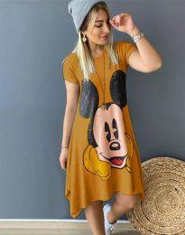 Дамска рокля в цвят горчица с анимация - 2304