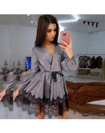 Елегантна рокля в сиво - код 3738