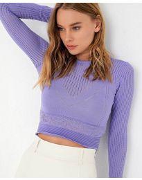 Изчистена дамска блуза в лилаво - код 8750