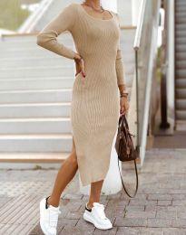 Изчистена дамска рокля в бежово - код 2326
