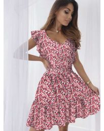 Свободна рокля в  цвят корал - код 6088