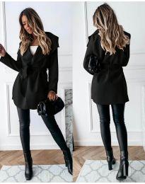 Дамско палто с колан в черно - код 643