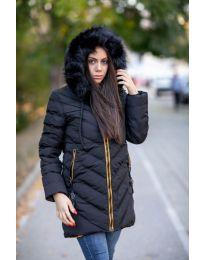 Дамско зимно яке с качулка с косъм в черно - код 6036