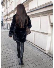 Дълго дамско палто в черно - код 187