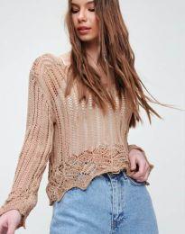 Екстравагантна дамска блуза в цвят капучино - код 2744