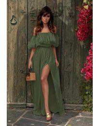 Дълга рокля с цепка в маслено зелено - код 3336